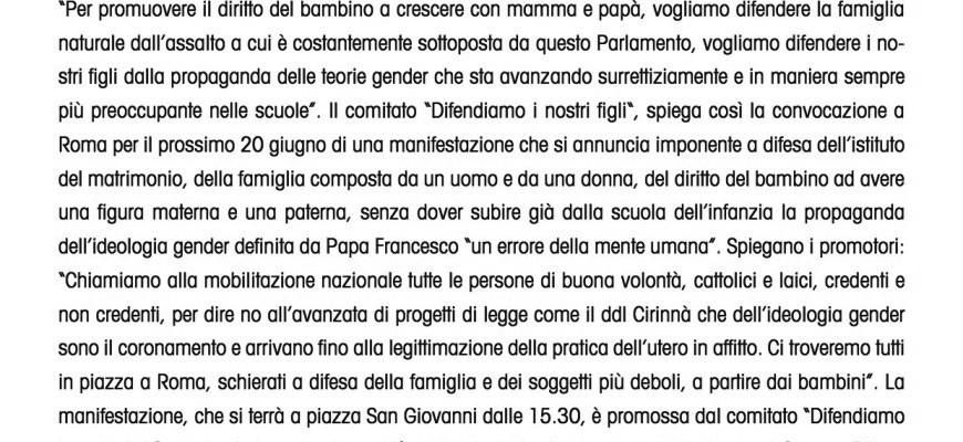 Manifestazione a Roma il 20 giugno contro DDL Cirinnà e su gender nelle scuole