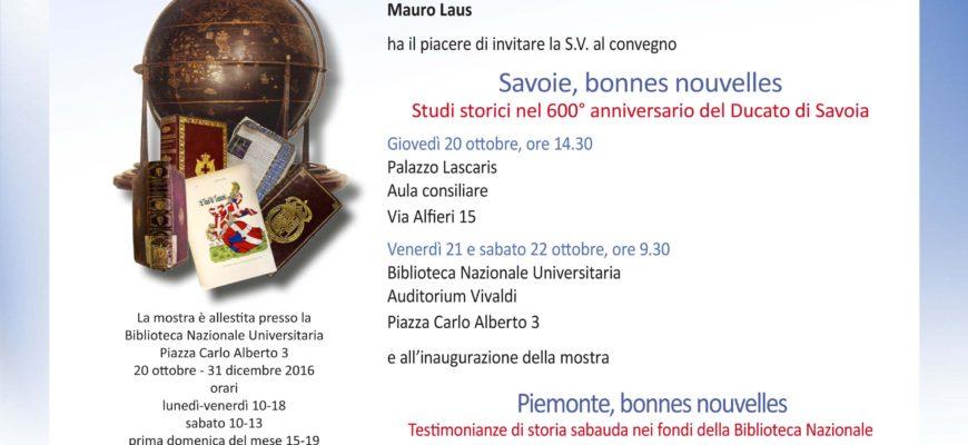 """""""Savoie, bonnes nouvelles. Studi storici nel 600° anniversario del Ducato di Savoia"""""""
